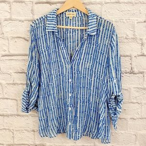 Anthropologie Cloth & Stone White Blue Brush Shirt